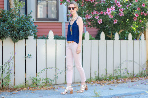 NAVY SILK CAMI AND BLUSH SKINNY JEANS