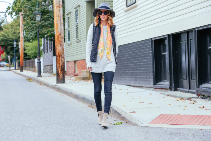 GRAY SWEATER AND QUILTED VEST