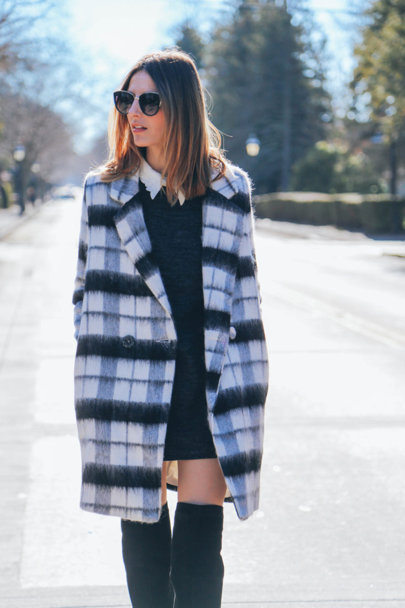 COLLARED SHIFT DRESS AND OVER THE KNEE BOOTS