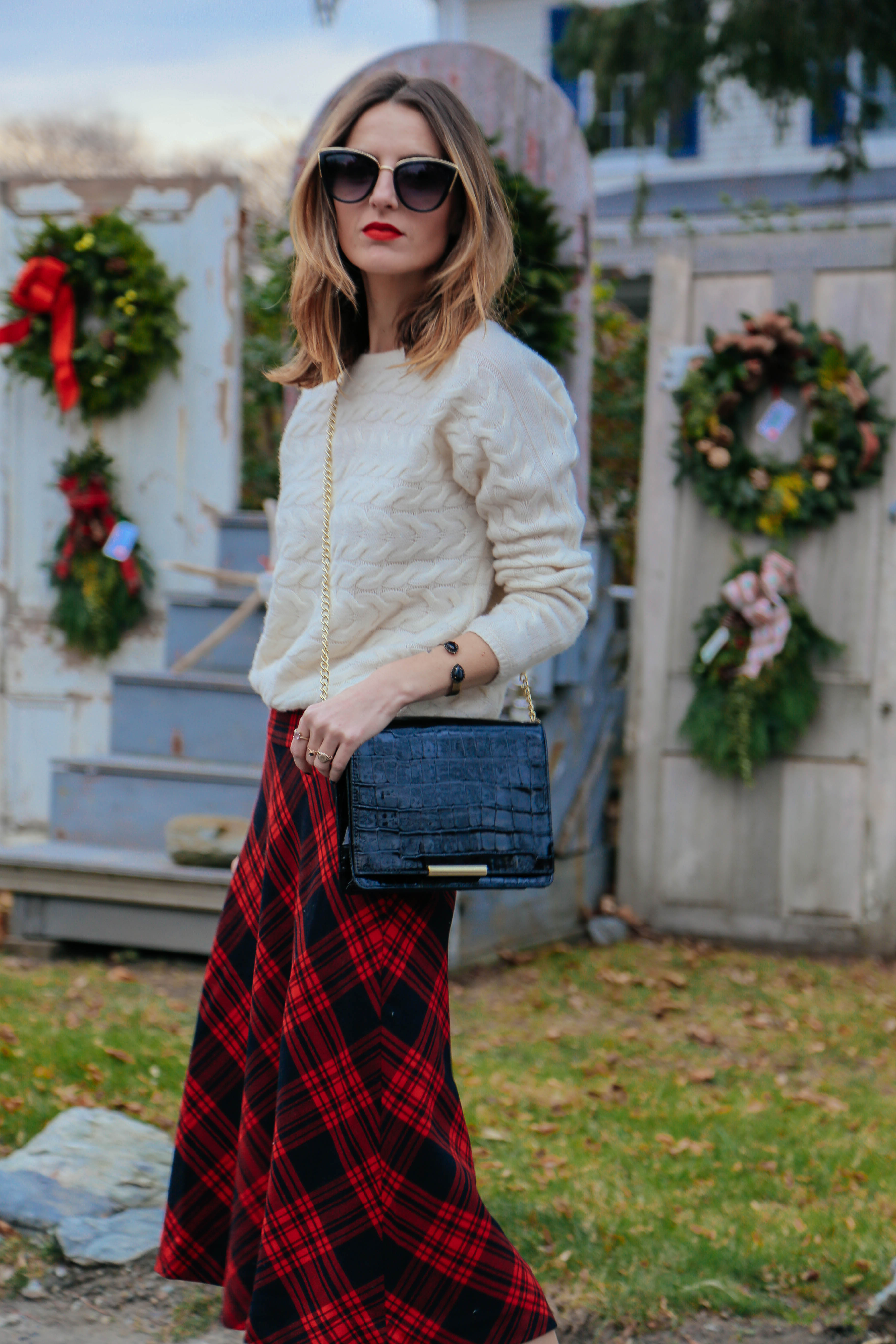 Plaid Skirt And Cable Knit Sweater