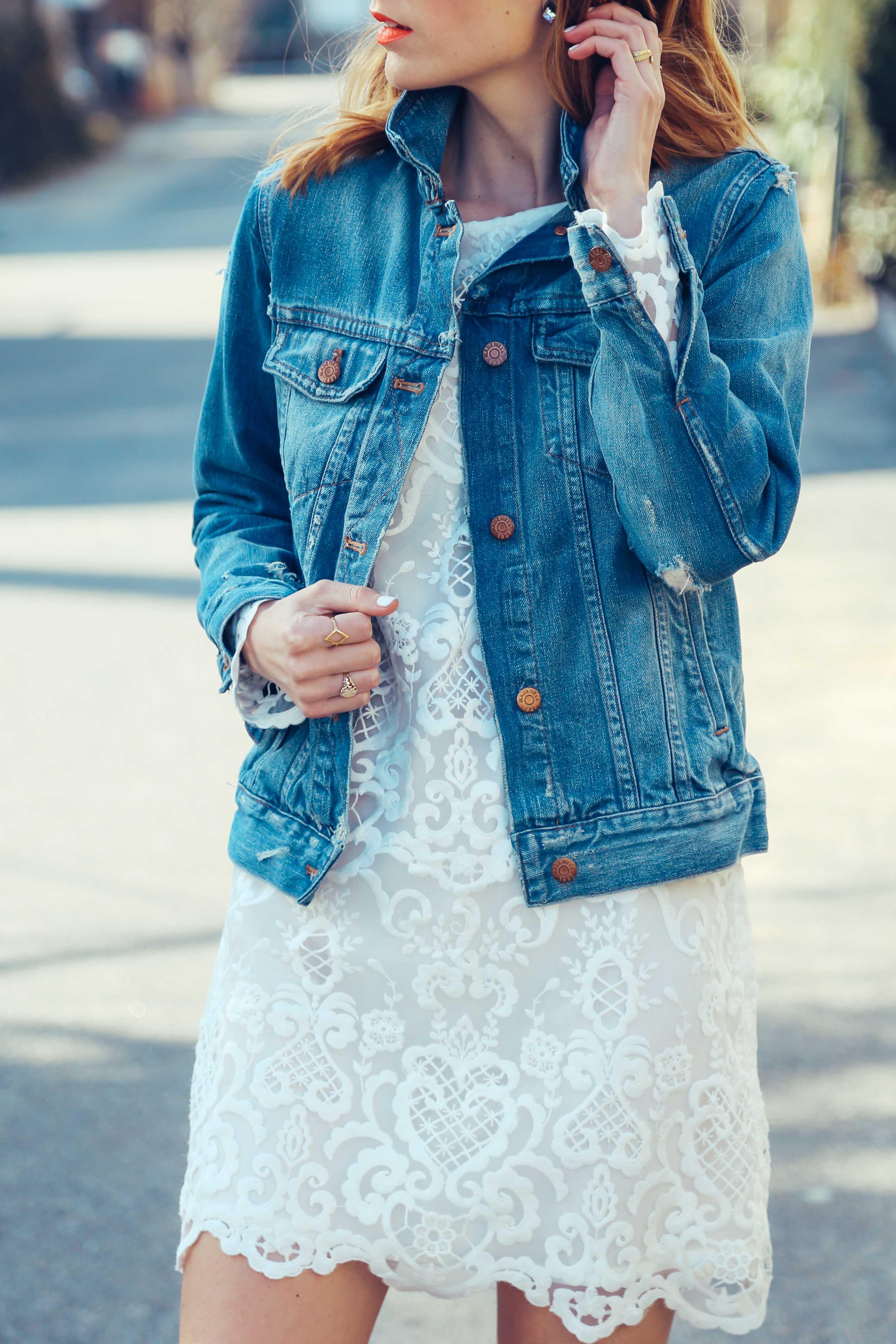 Denim jacket white dress