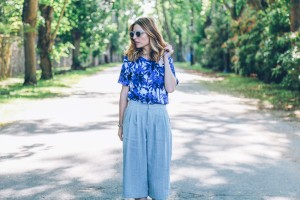 CULOTTES AND PALM PRINT TEE