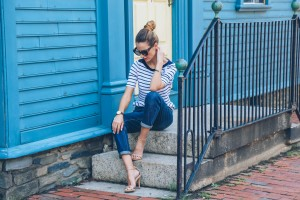 TRANSITIONAL FALL FASHION: BOYFRIEND JEANS AND STRIPE TEE