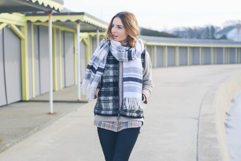 PRINT MIXING: PLAID VEST AND STRIPE SCARF