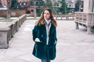 Faux Fur Coat and Silk Scarf