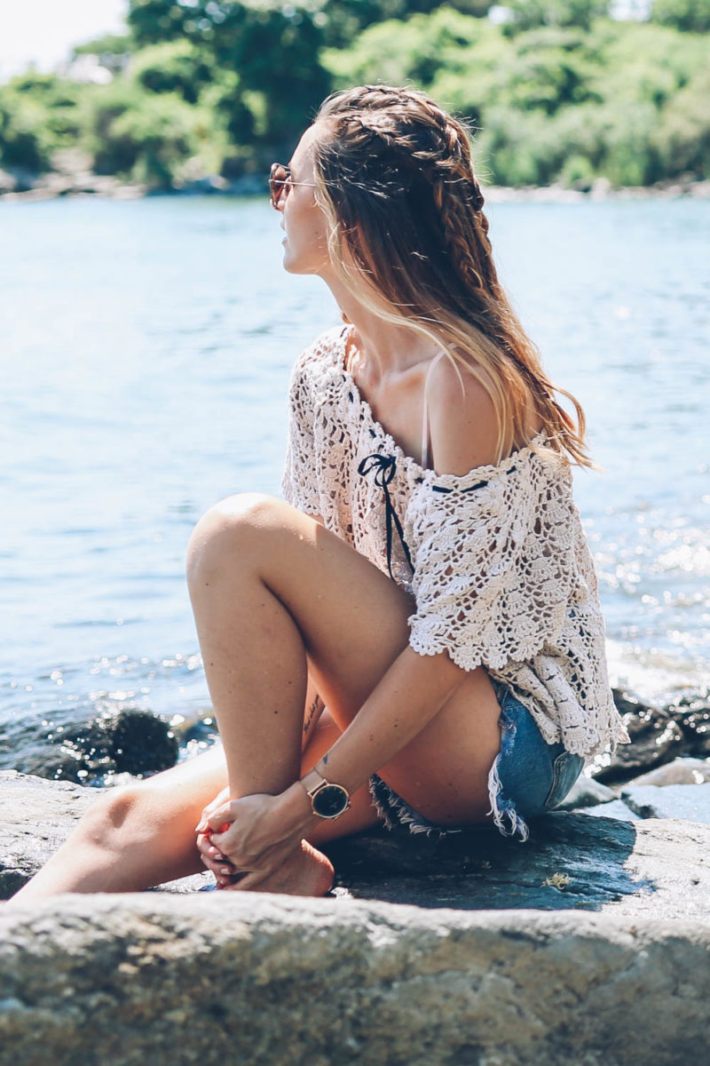 Crochet Top and Jean Shorts