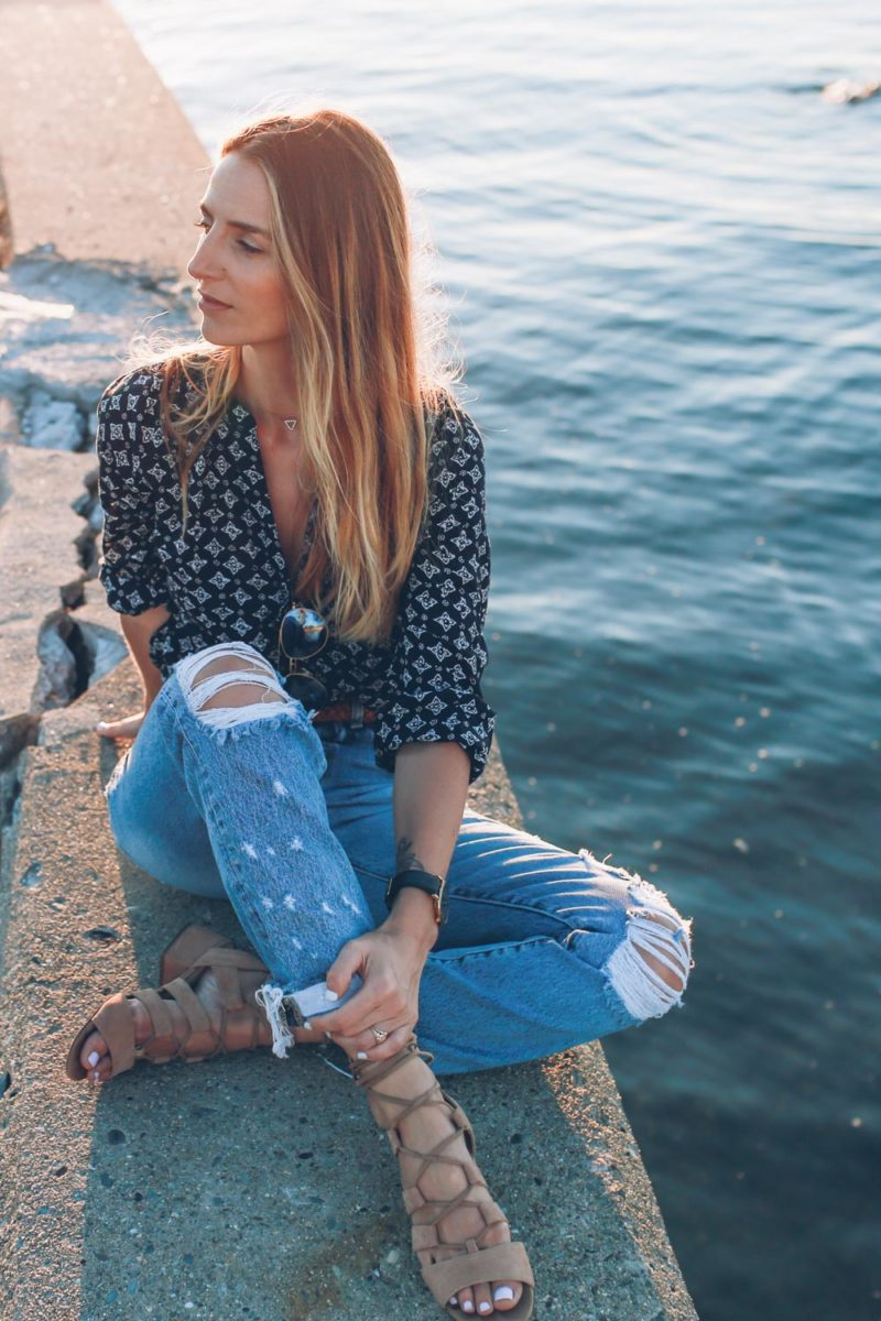 Printed Blouse and Ripped Jeans