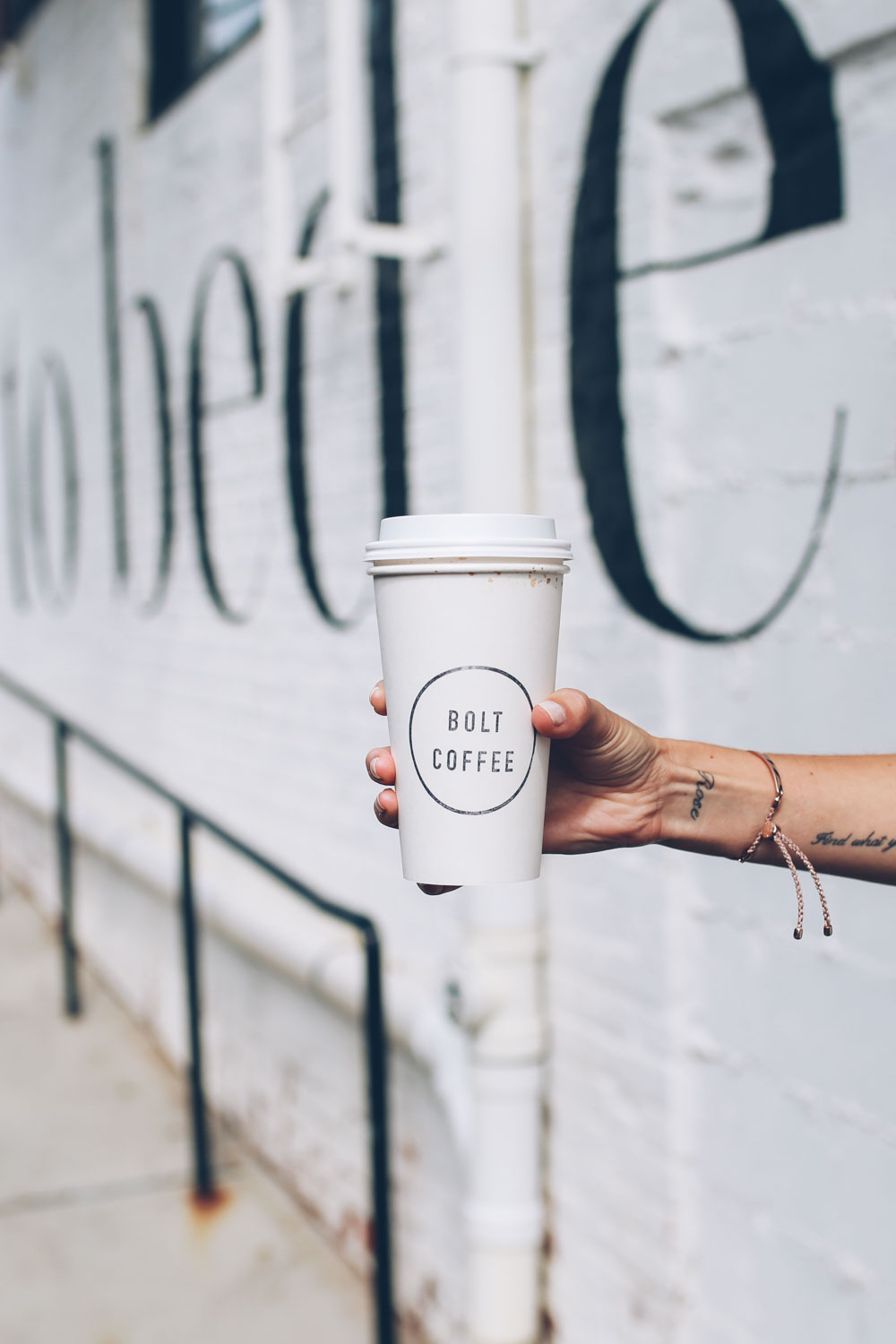 Jess Ann Kirby grabs a coffee at Bolt Coffee Co in Providence Rhode Island