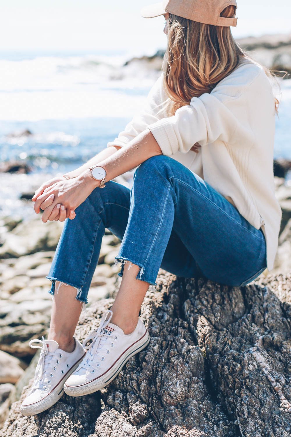 Jess Ann Kirby in converse sneakers and Paige denim in Newport Rhode Island shares the past four years as a blogger