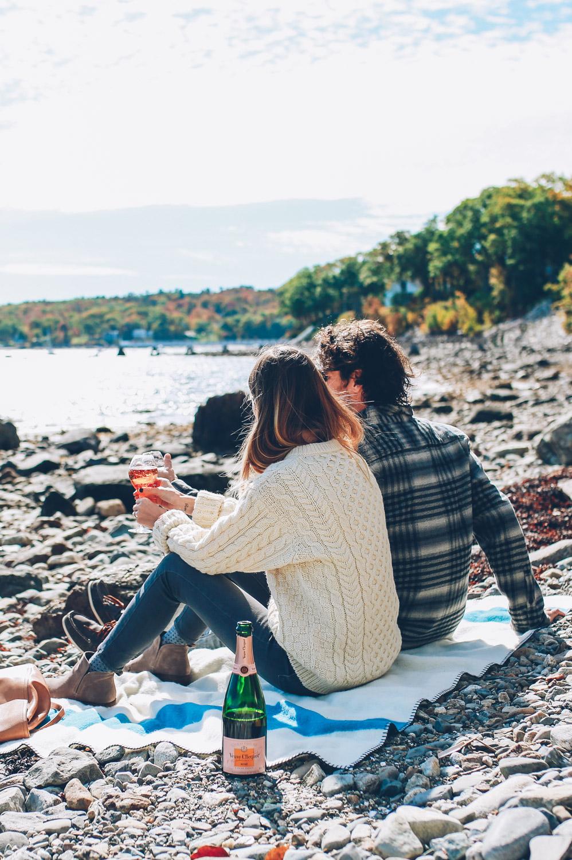 Jess Ann Kirby and Craig MacKay's beach picnic in Camden Maine