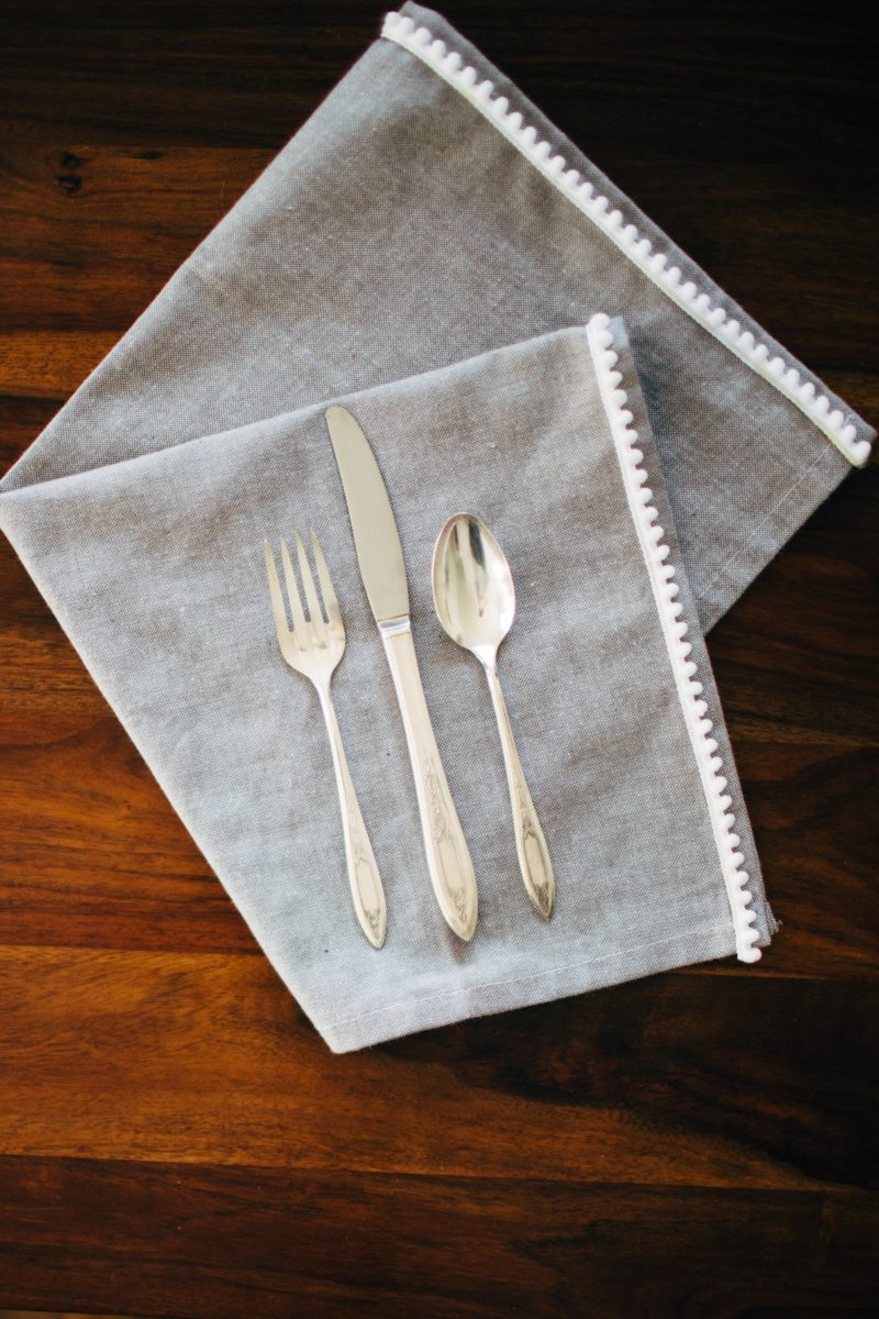 Easy DIY Cloth Napkins with Fringe Detail