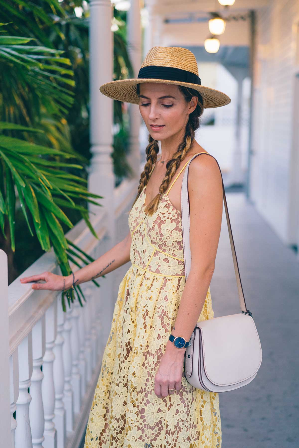 Spring trend to try, yellow. Jess Kirby wears a midi dress in Key West