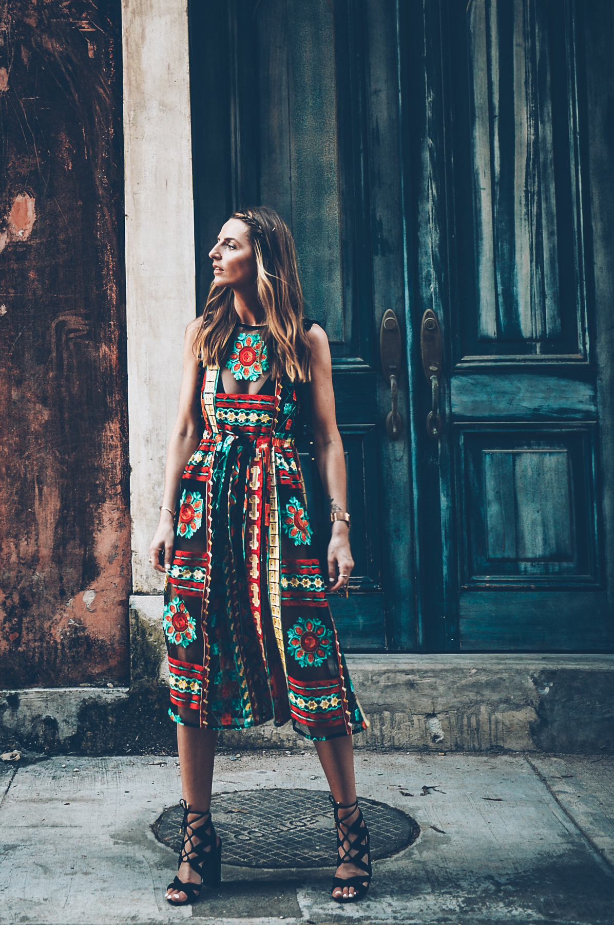 Jess Kirby wearing an embroidered dress from ANthropologie in Casco Viejo Panama City