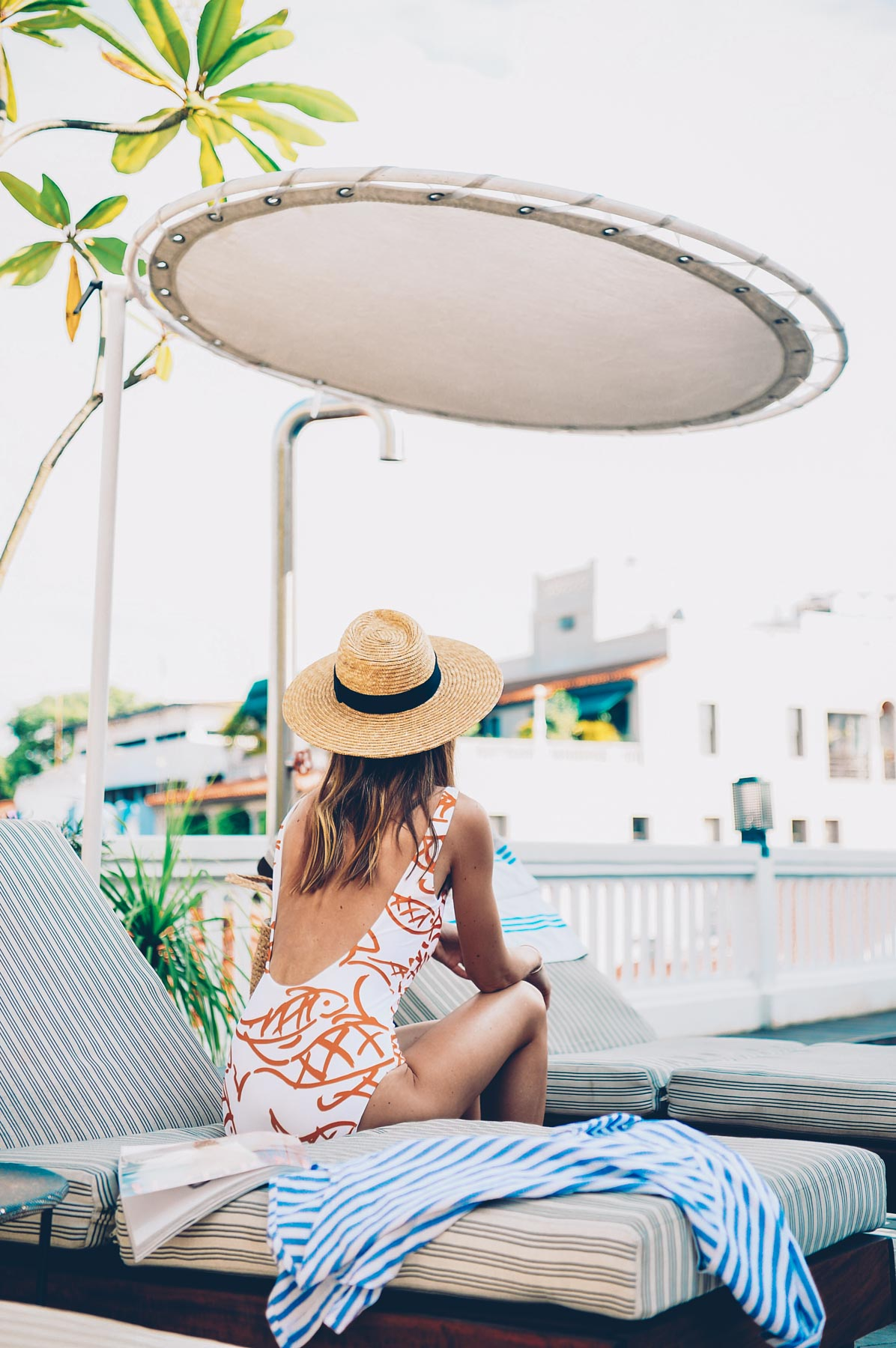 Jess Kirby wearing an Onia One Piece from Anthropologie at the American Trade Hotel in Panama City