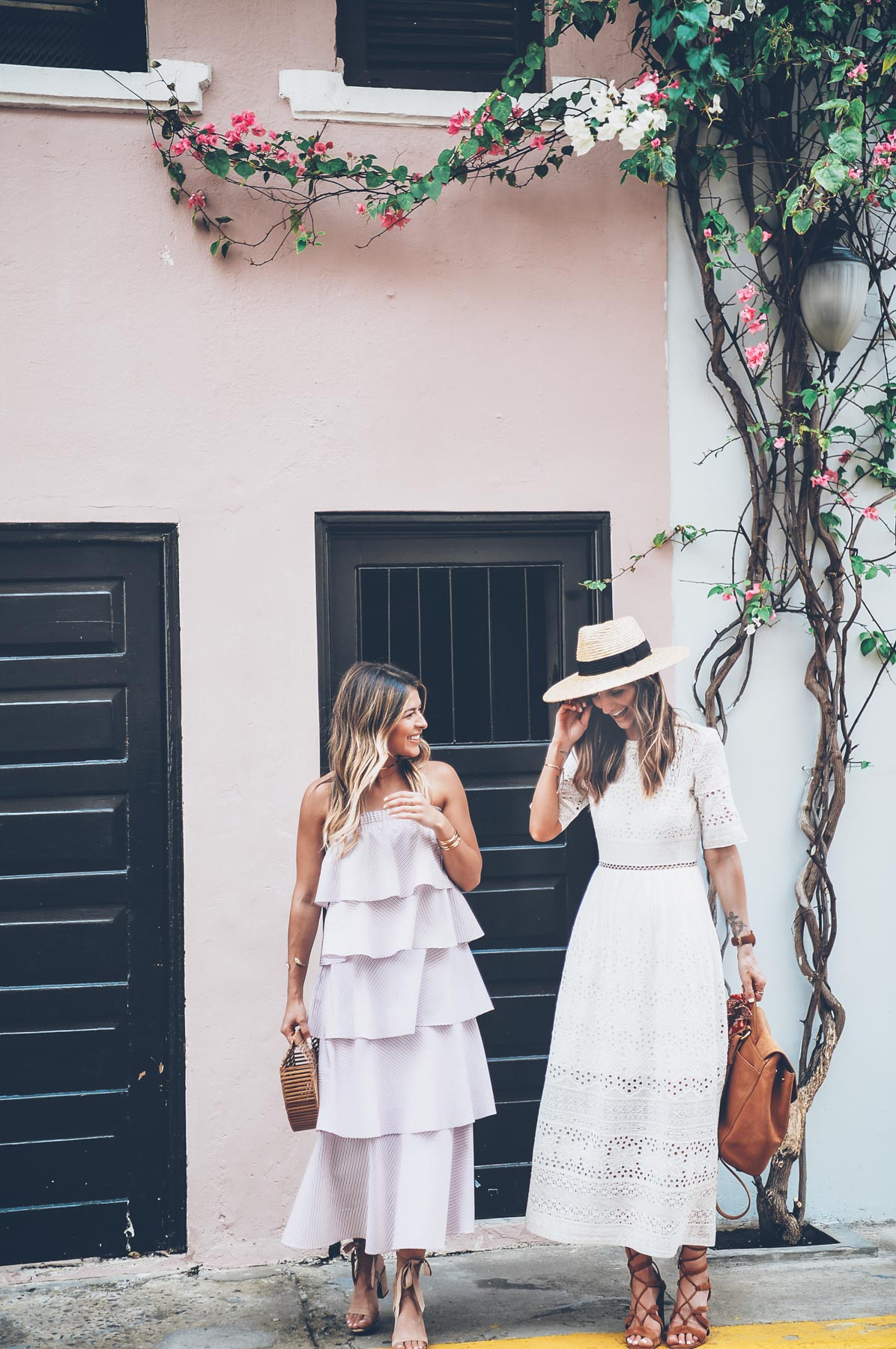 Jess Kirby and Pam Hetlinger wearing Prose and Poetry and French Connection dresses in Panama City Casco Viejo