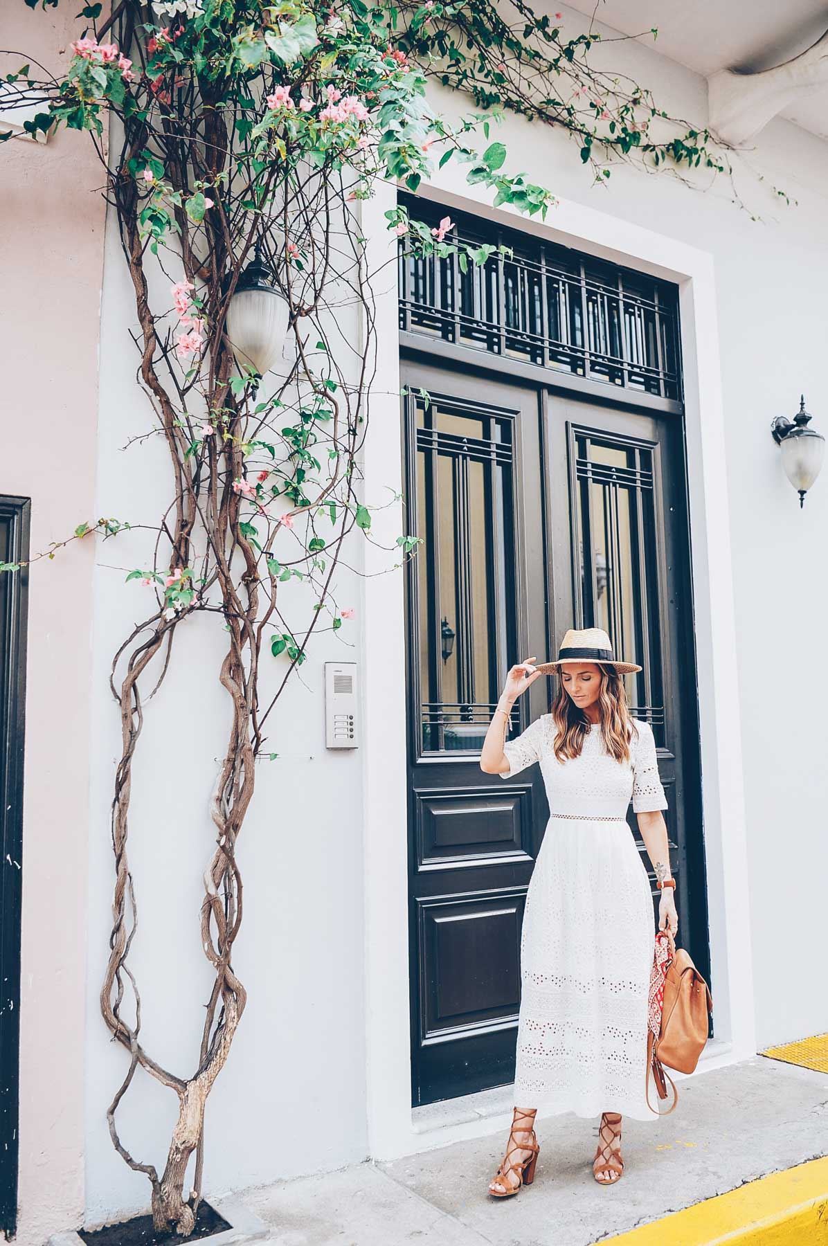 Jess Kirby wearing a French Connection White Embroidered Maxi Dress in Panama City
