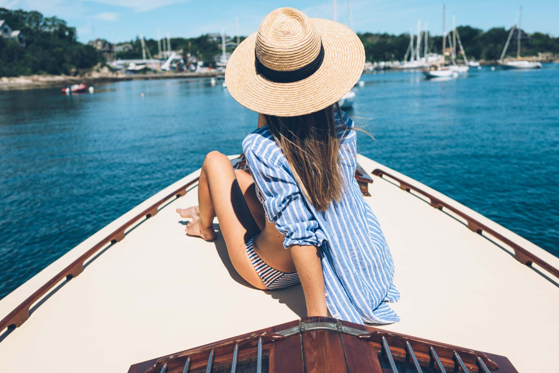 Jess Kirby's summer style in a rails stripe button down in Newport, RI