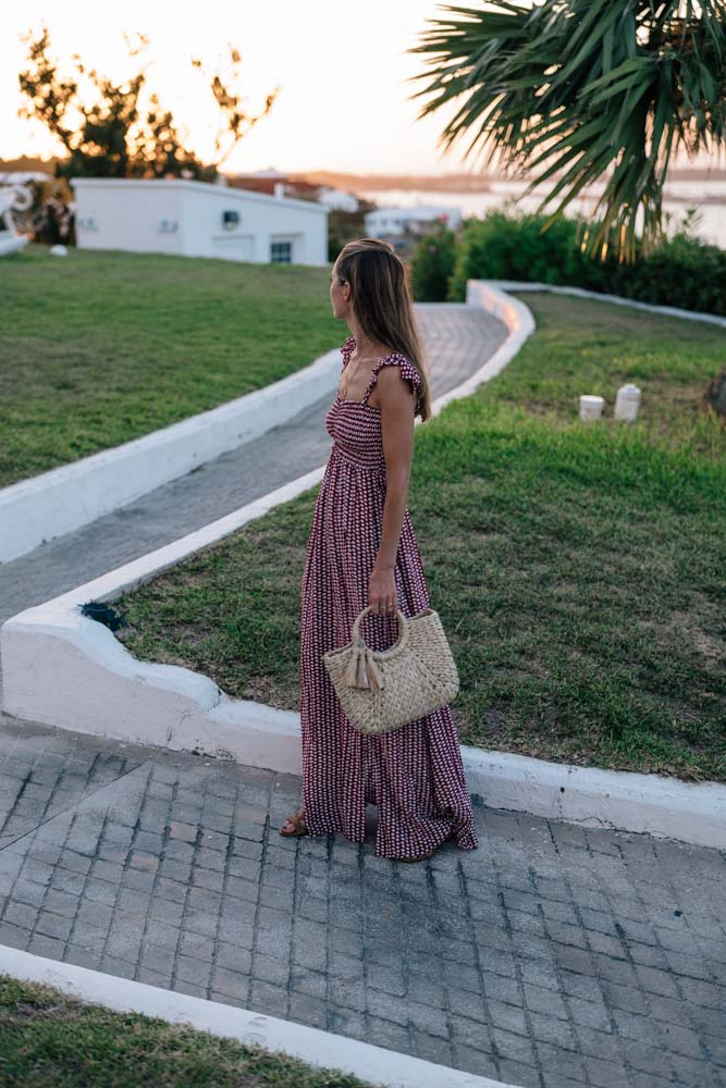 Jess Kirby wears a Tiare Hawaii Maxi Dress in Bermuda at Gibbs Lighthouse