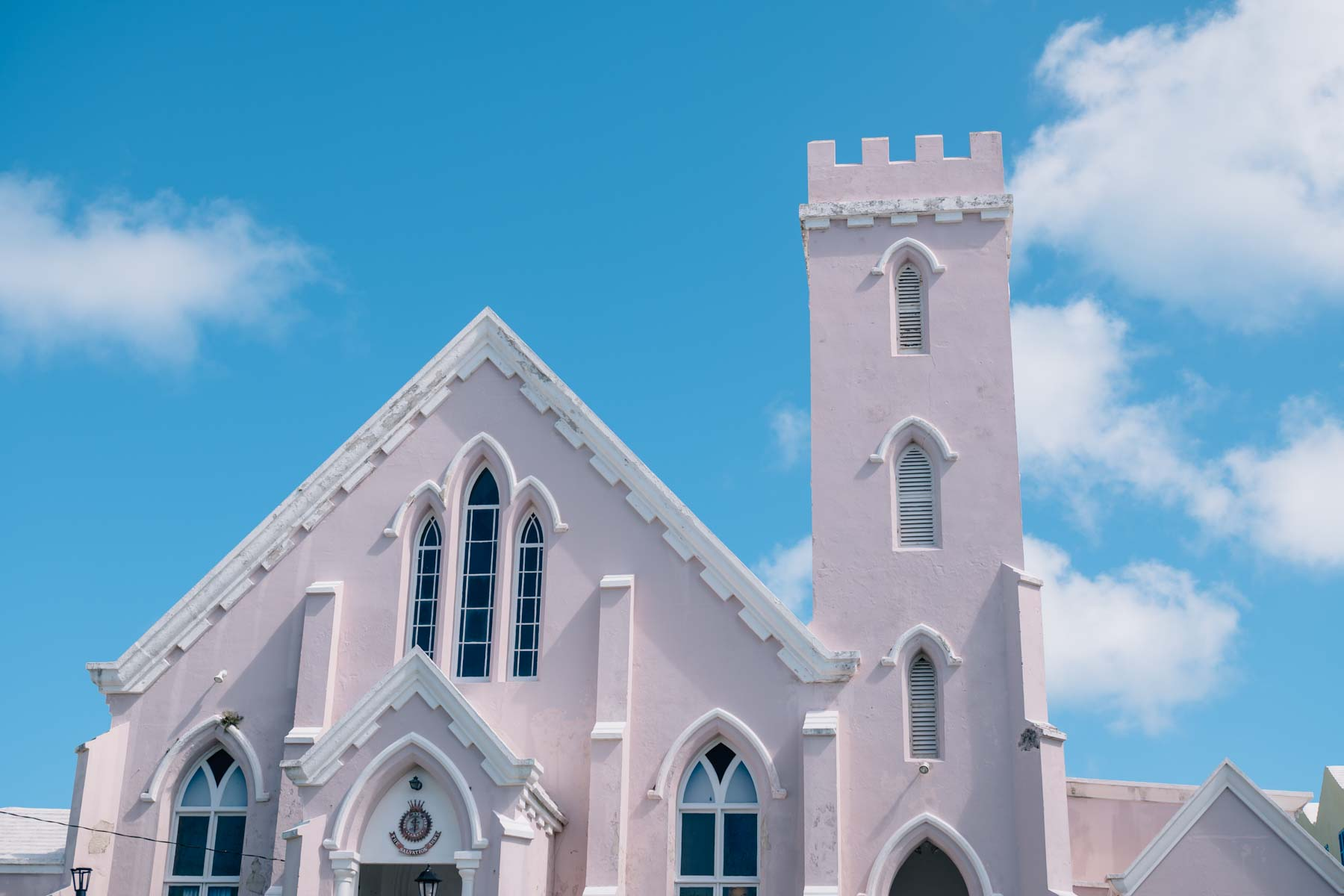 A pink church in Saint Georges Island Bermuda. Jess Kirby's Bermuda travel diary