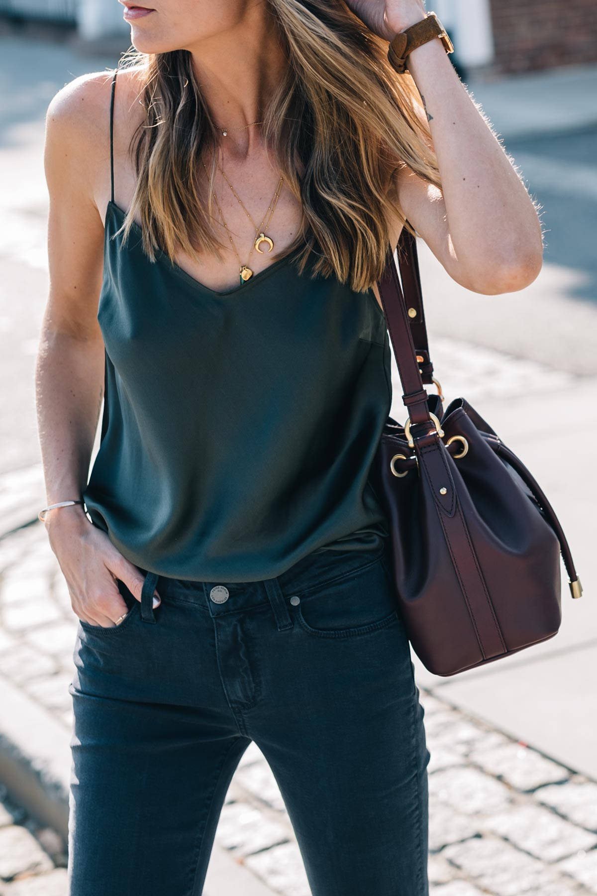 Transitional summer to fall style by Jess Ann Kirby wearing a Paige tank and Brahmin crossbody bag