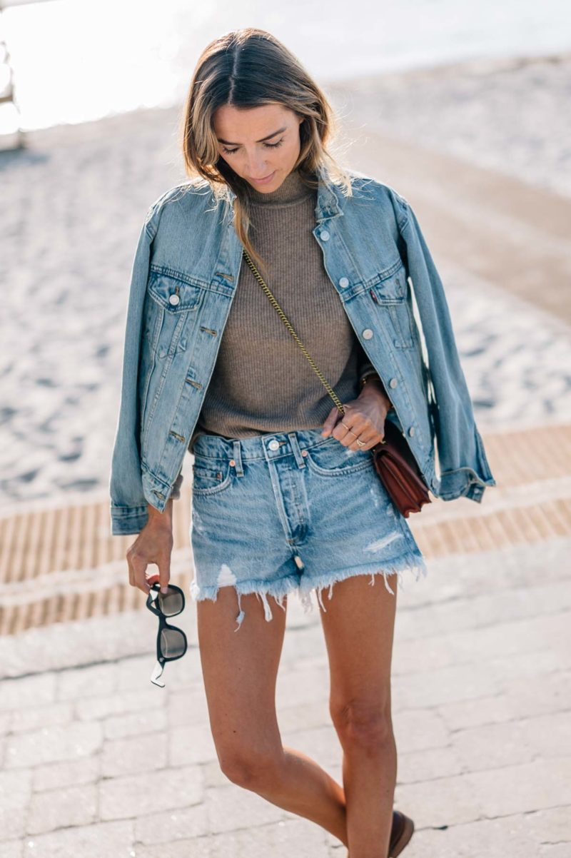 Transitional Style: Mock Neck Sweater and Denim Shorts