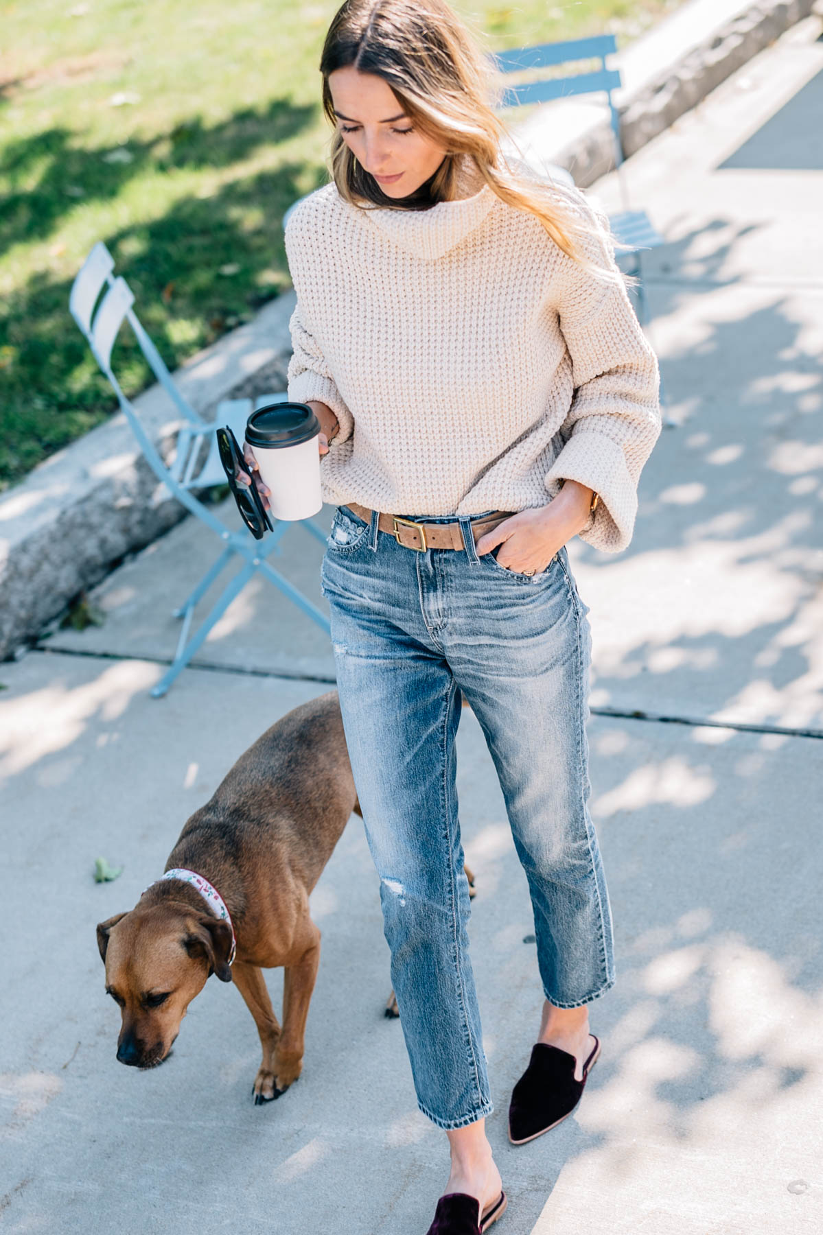 Fall outfits from Jess Kirby wearing a Free People Sweater, AG isabelle jeans, Rag and Bone leather belt and madewell velvet mules