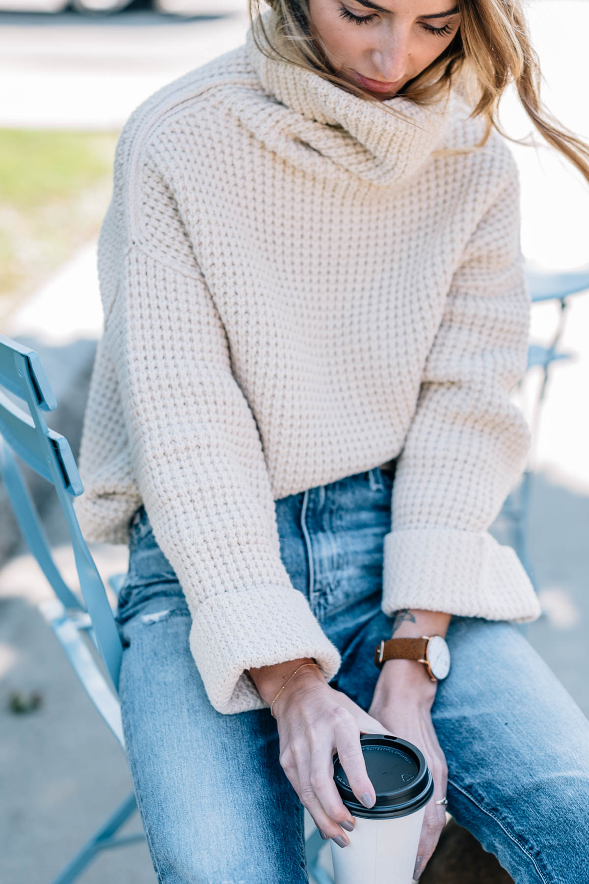 a50151a8ad Fall Outfits  Chunky Knit Sweater and Boyfriend Jeans .