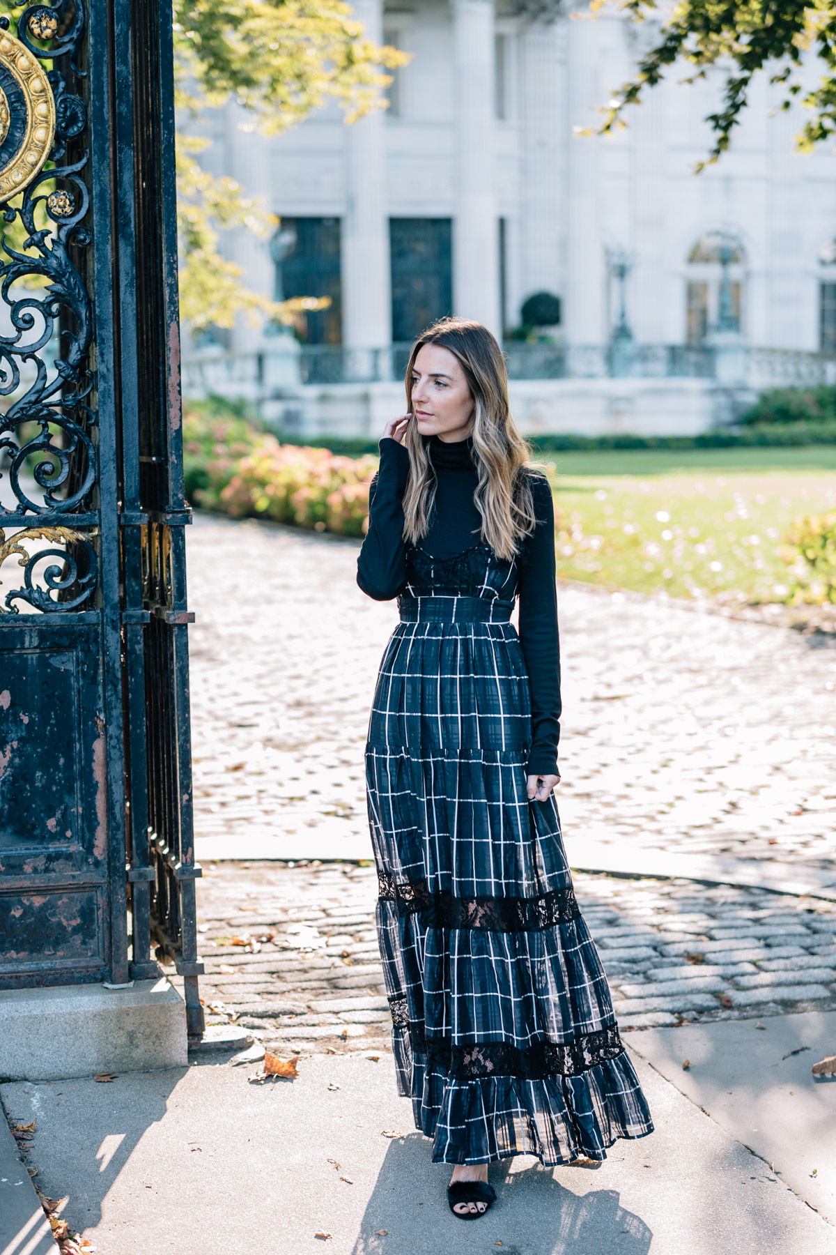 Jess Ann Kirby plaid maxi dress vetiver communication breakdown ...