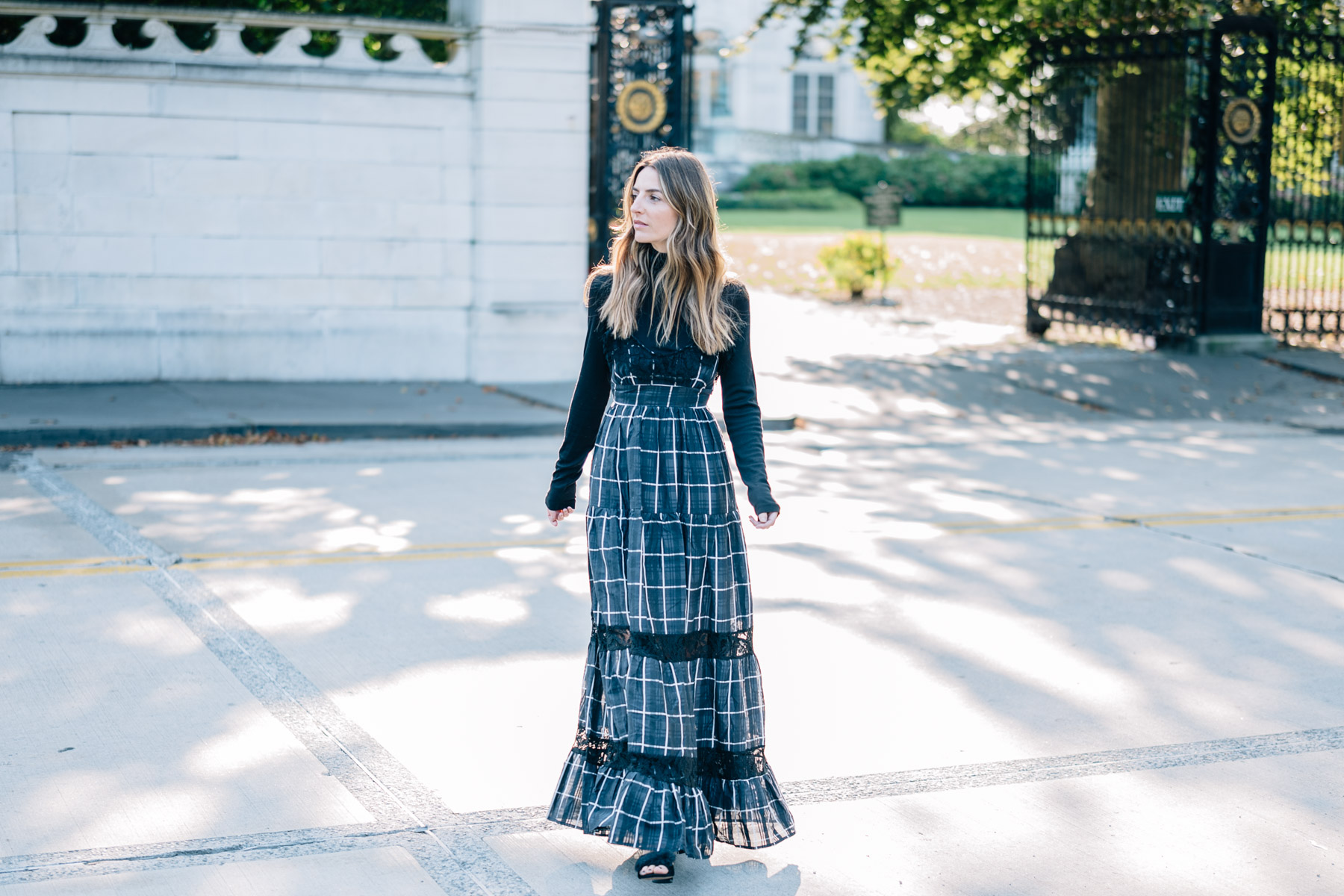 Jess Ann Kirby's fall wedding style in the vetiver plaid maxi dress