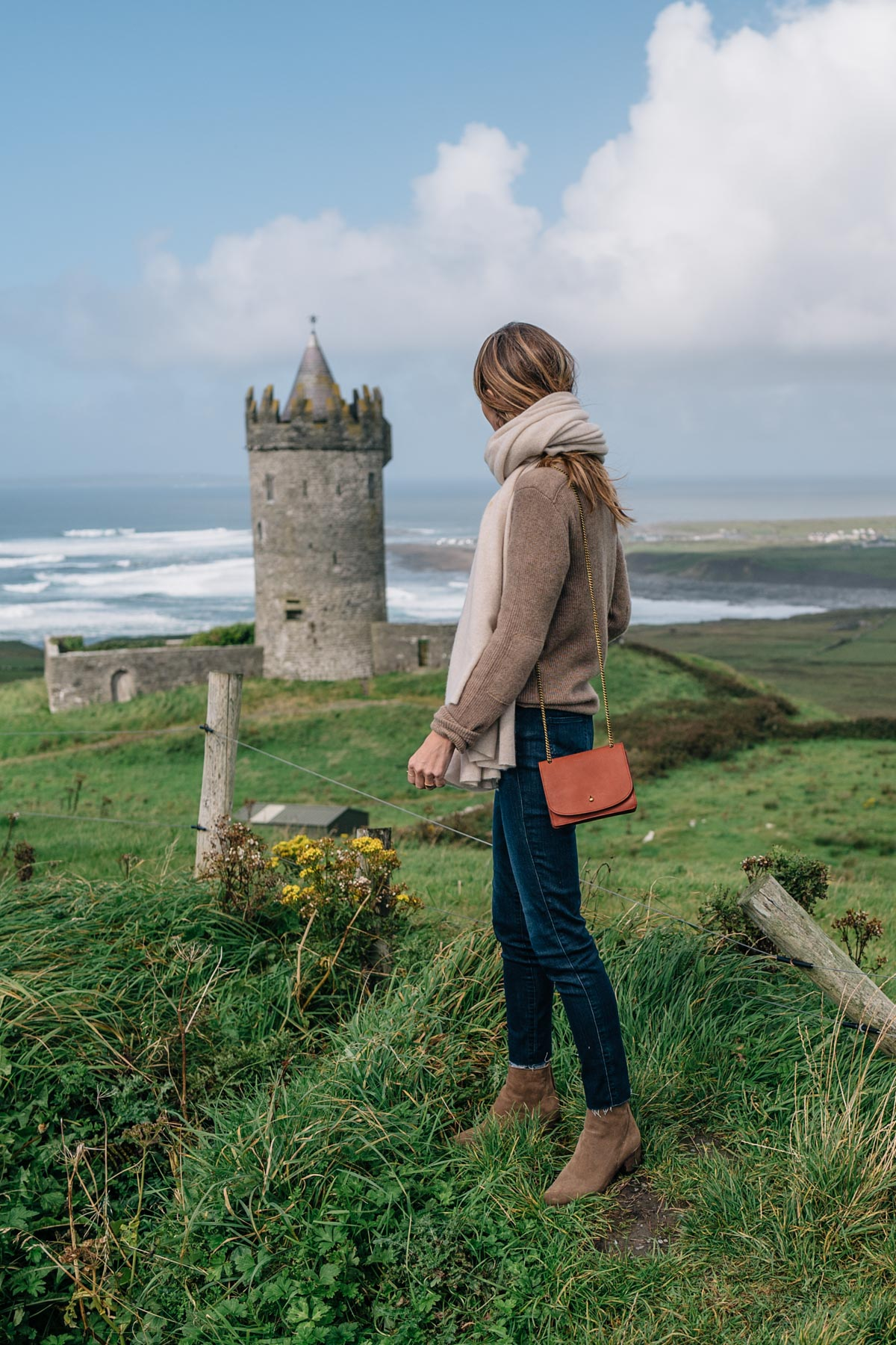 Ireland Travel Diary, Jess Ann Kirby at Doonagore Castle in Doolin