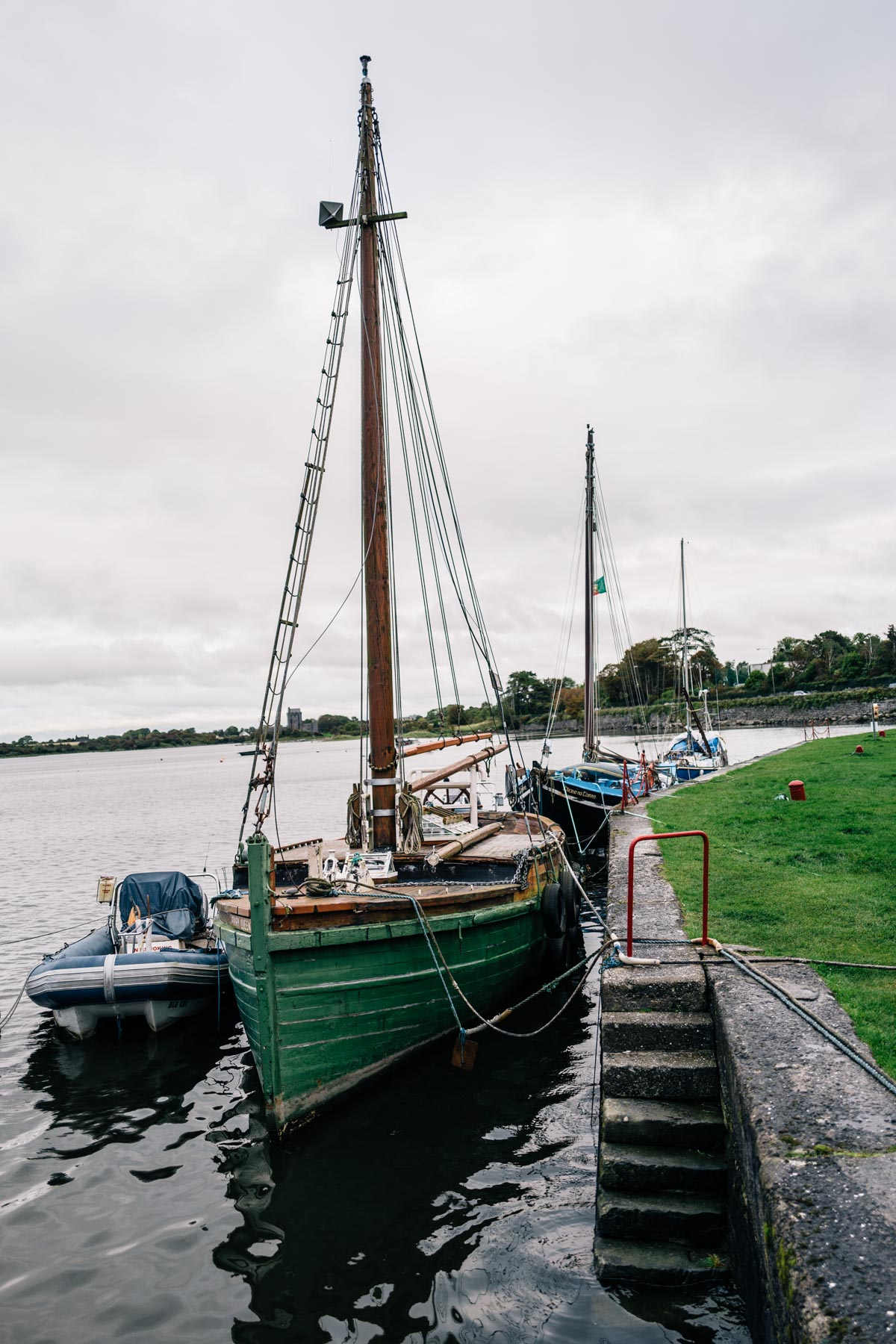 Wooden boats in the harbor at Kinvarra, Ireland
