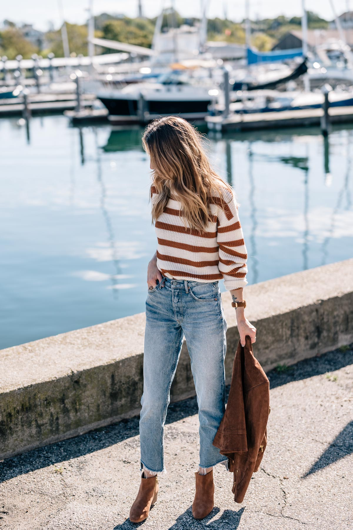 Jess Ann Kirby wears a fall outfit with GRLFRND denim, talbots ankle boots and a paper crown sweater