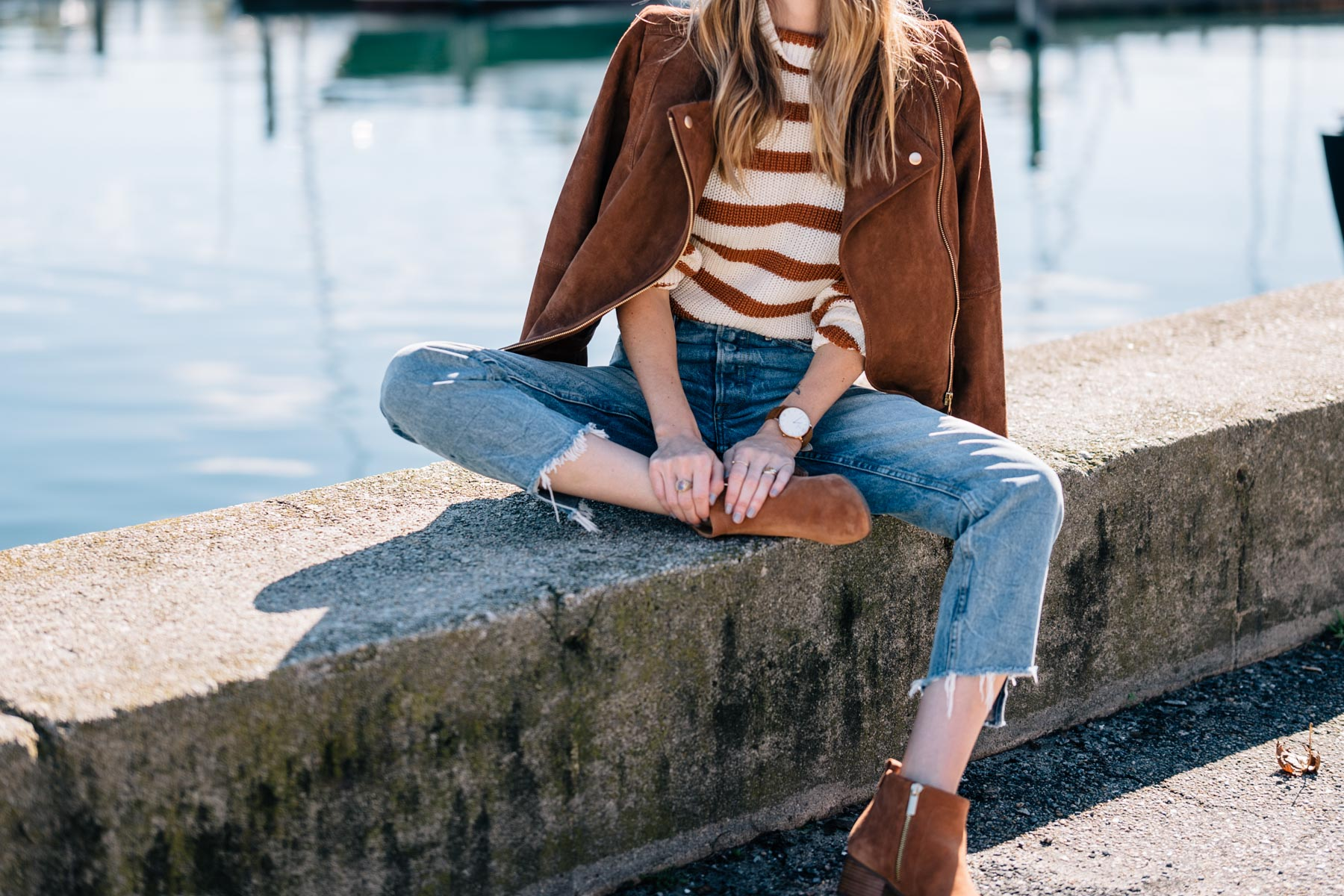 Jess Ann Kirby wearing GRLFRND denim, talbots ankle boots and a suede moto jacket