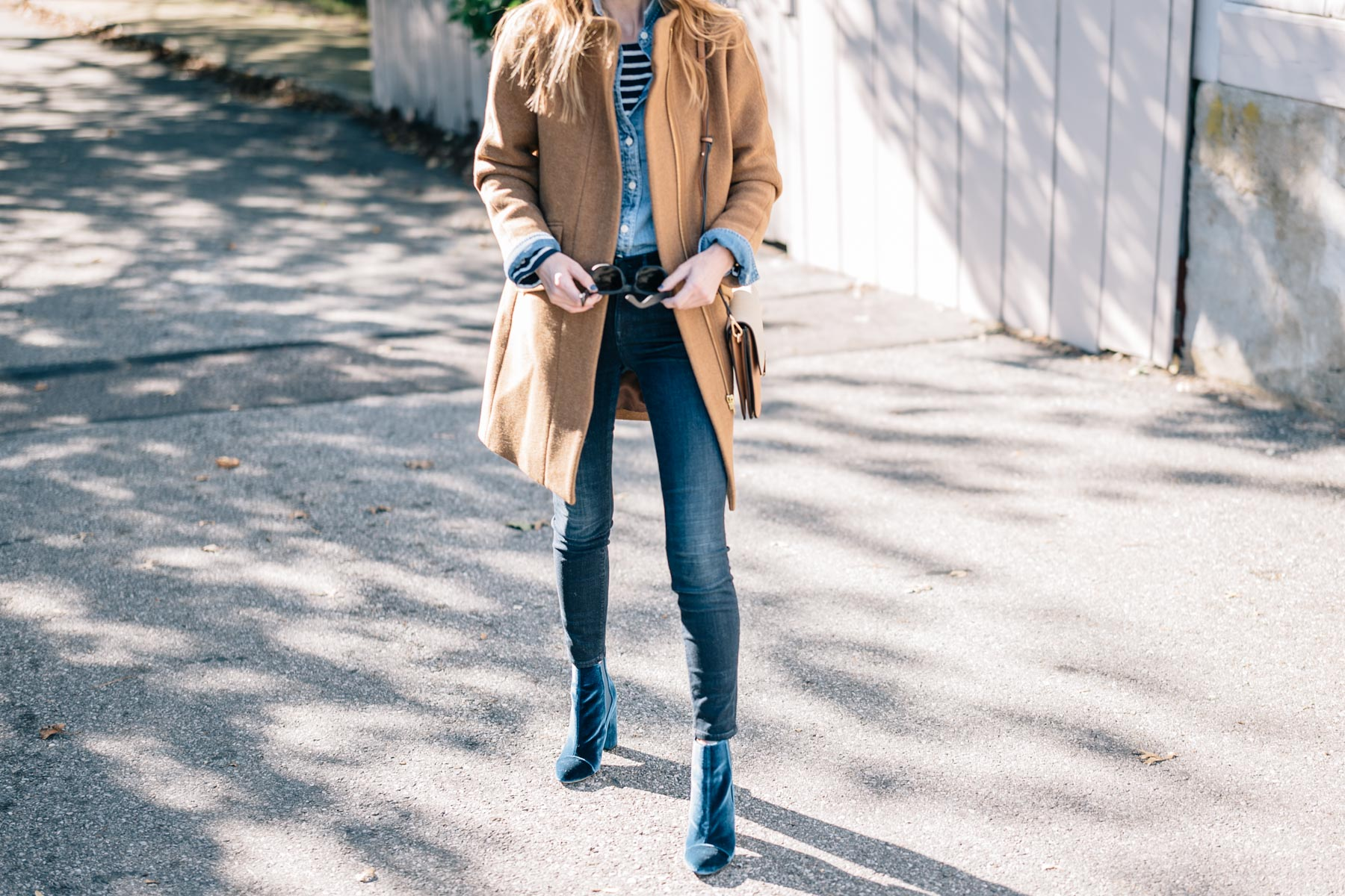 Jess Ann Kirby wears the J.Crew Camel Wool Coat, AYR Jeans and Velvet Booties for a warm fall look