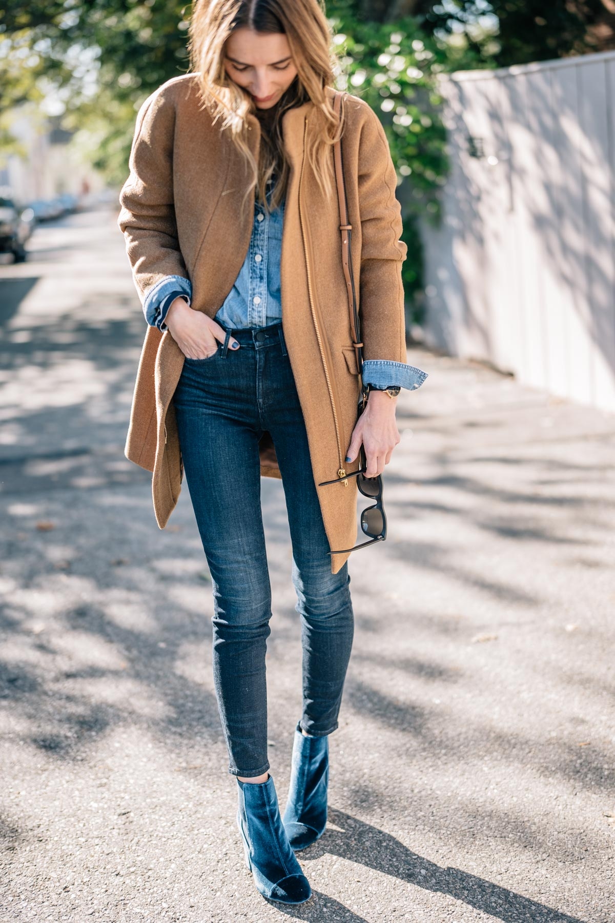 Jess Ann Kirby styles the J.Crew Stadium Cloth Coat with AYR Skinny Jeans and Velvet Booties for fall