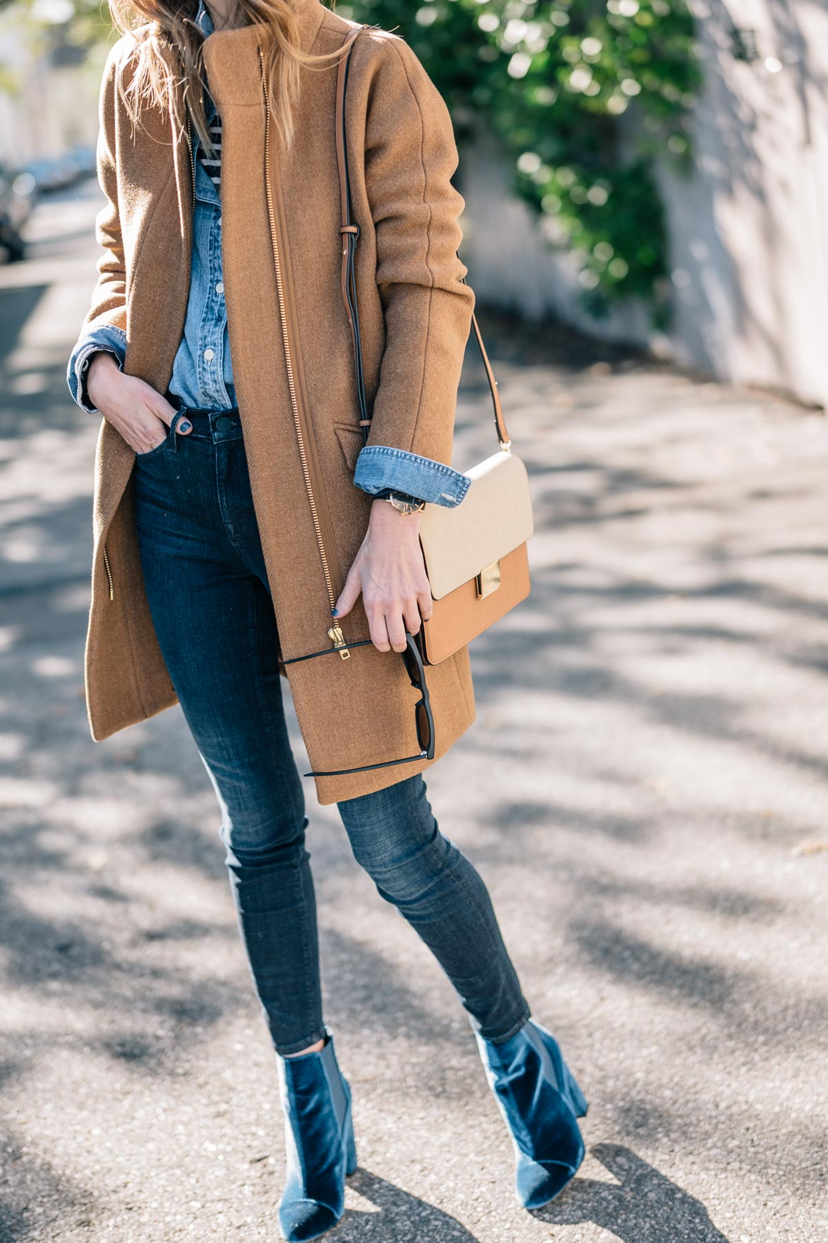 Jess Ann Kirby shows how to layer in a J.Crew Stadium Cloth Coat, AYR Skinny Jeans, Velvet Booties and Leather Crossbody