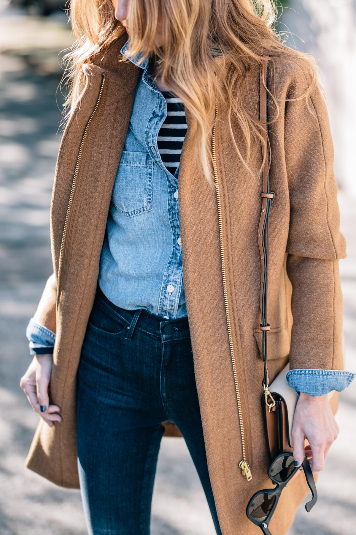 How to layer clothes by Jess Ann Kirby wearing a J.Crew Chambray Shirt and Cocoon Coat