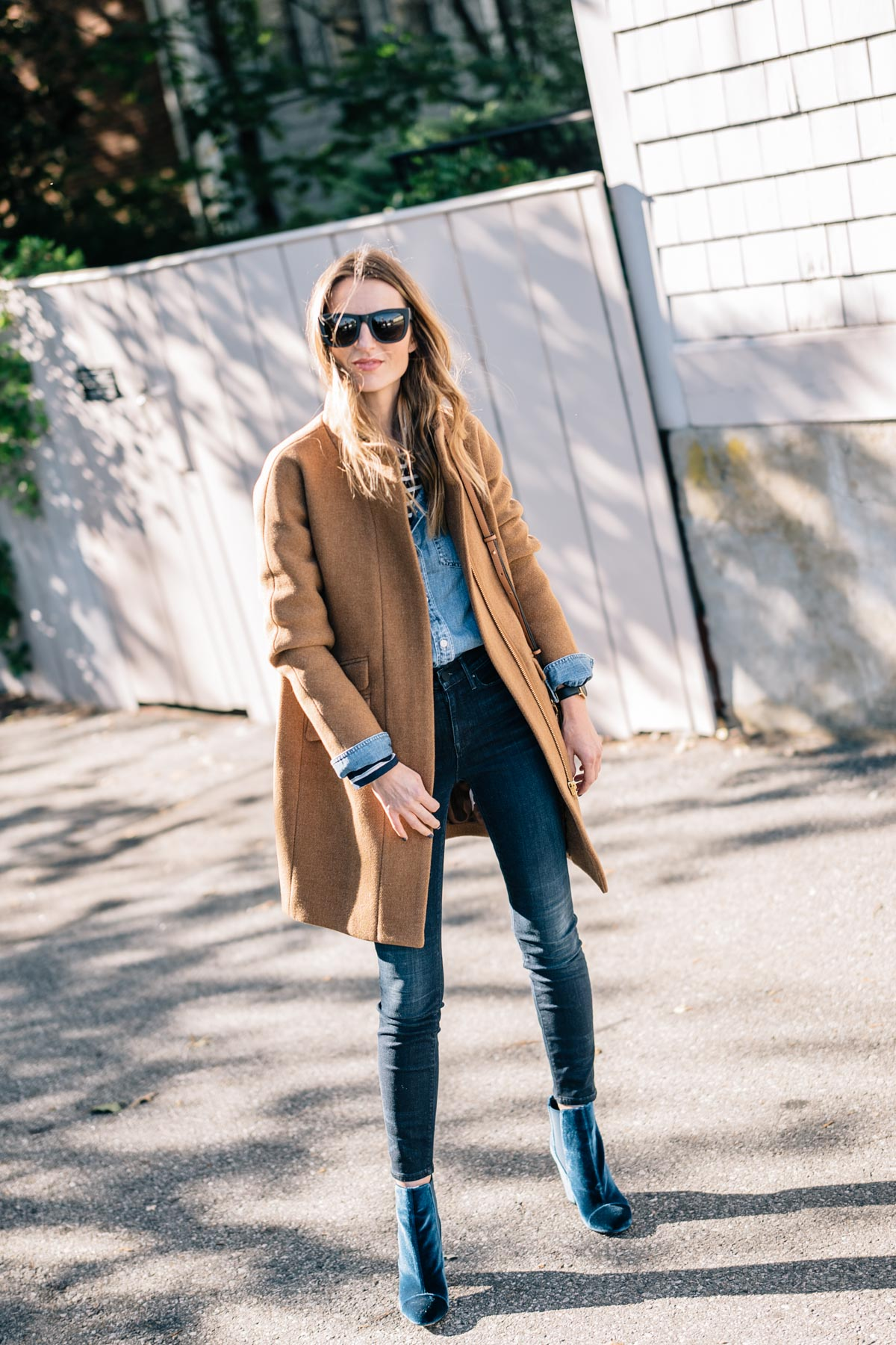 Fall style from Jess Ann Kirby wearing the J.Crew Stadium Cocoon Coat, AYR skinny jeans and velvet booties