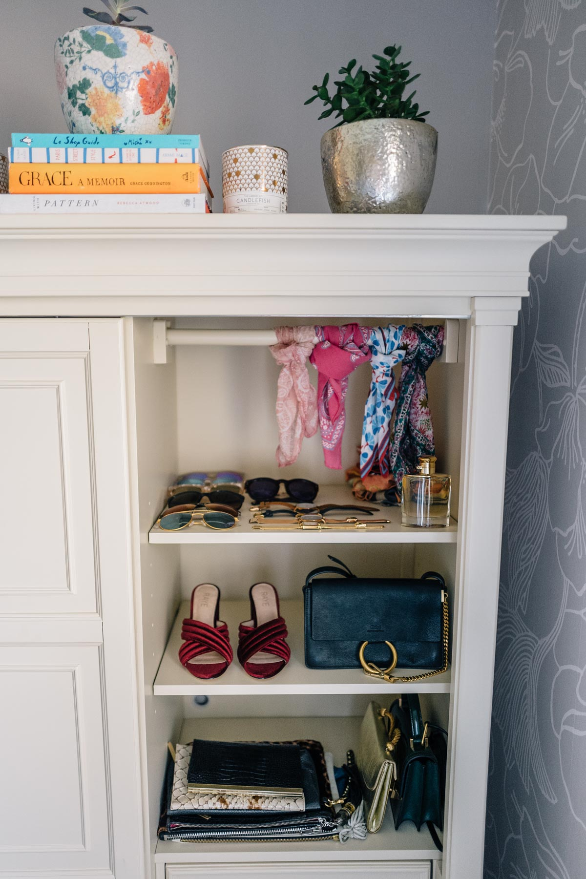Jess Ann Kirby shares her ideas for storage using the Raymour && Flanigan wardrobe dresser