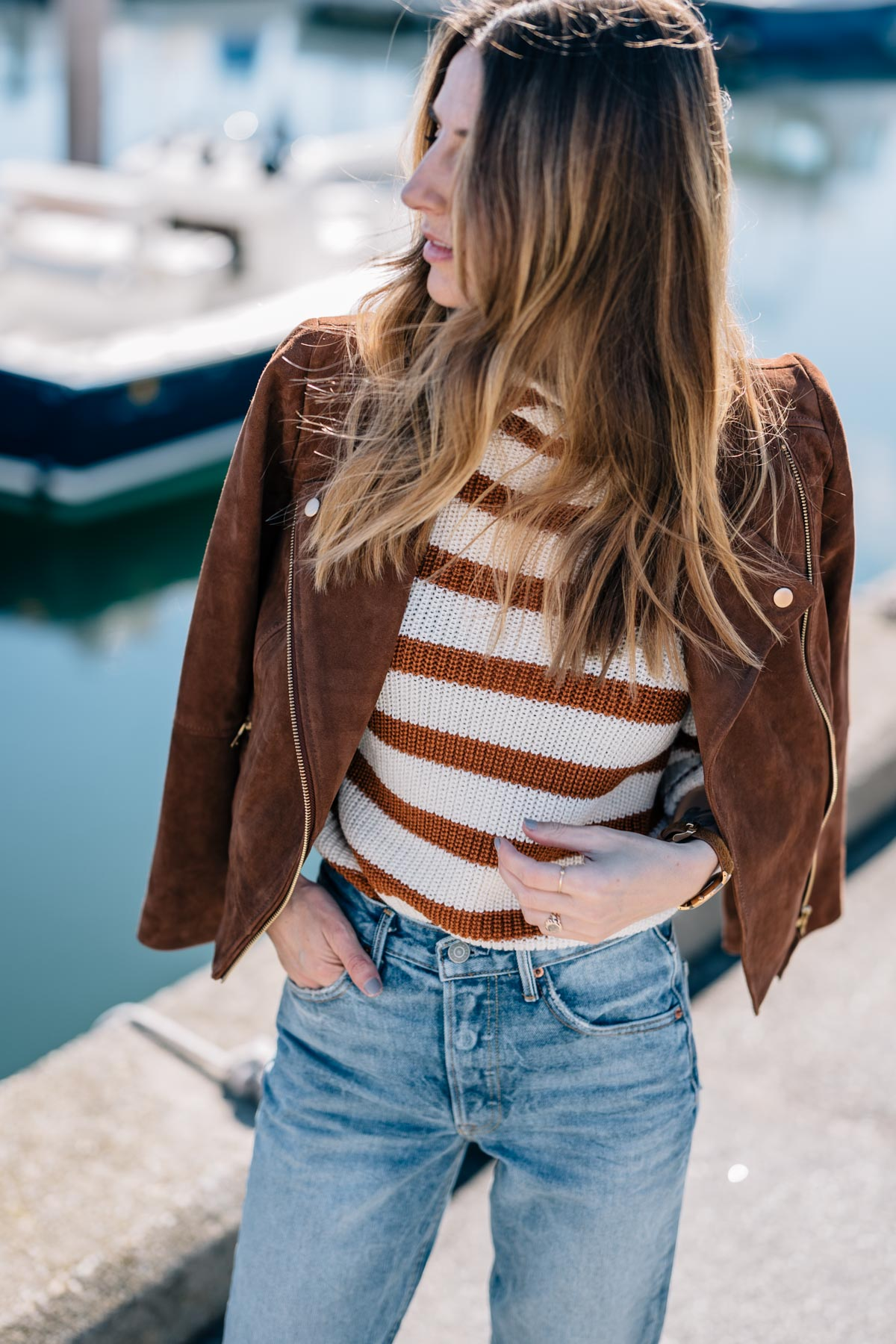 Jess Ann Kirby styles Autumn maple with a suede Moto jacket for fall