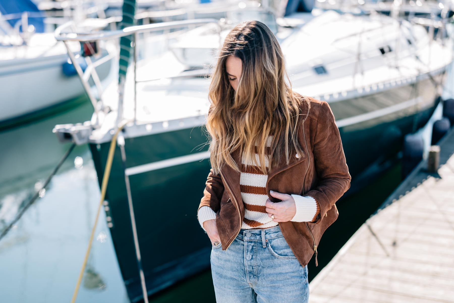 Jess Ann Kirby styles a Talbots suede jacket with a paper crown sweater for fall