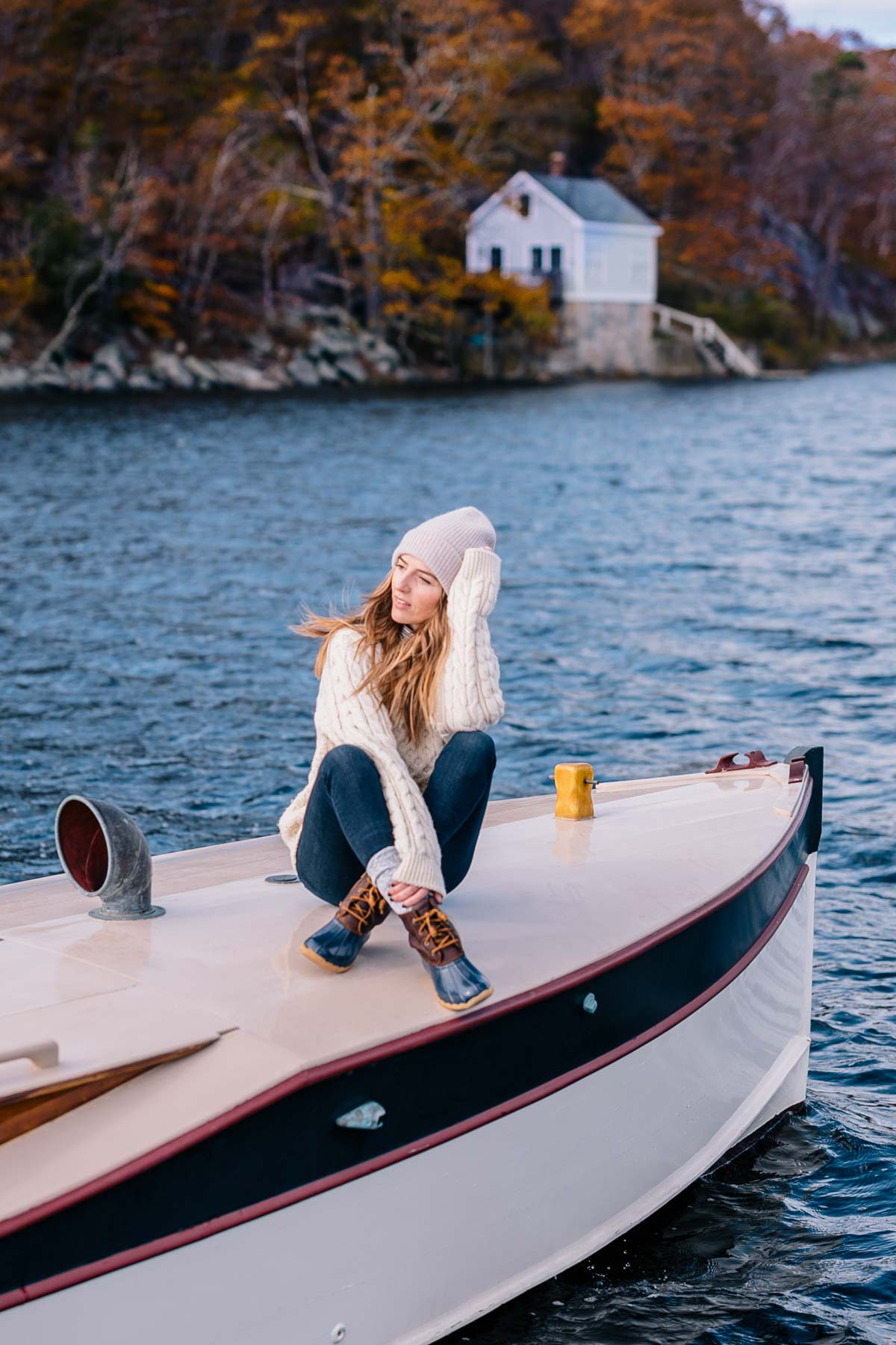 Jess Ann Kirby bundles up in Sperry Duck boots and an LL Bean Fisherman sweater in Newport, Rhode Island