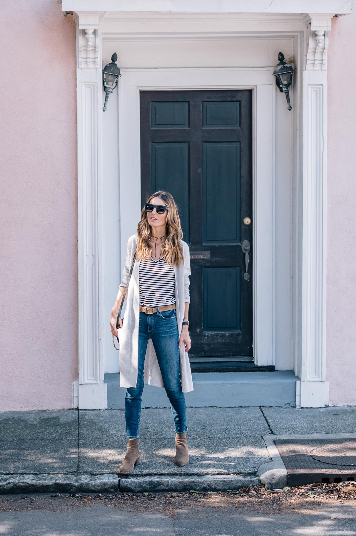 Jess Ann Kirby styles a cashmere cardigan with paige skinny jeans and dolce vita ankle boots for fall