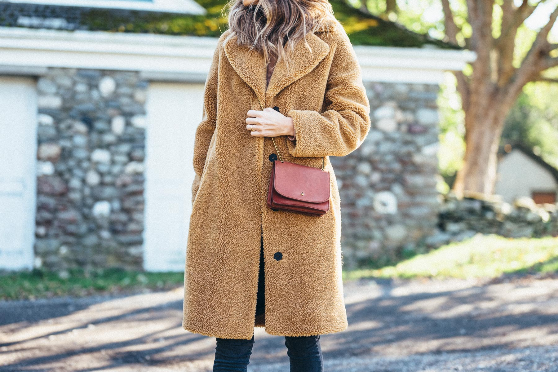 Jess Ann Kirby in the luisa viaroma STAND faux fur teddy coat and madewell crossbody bag