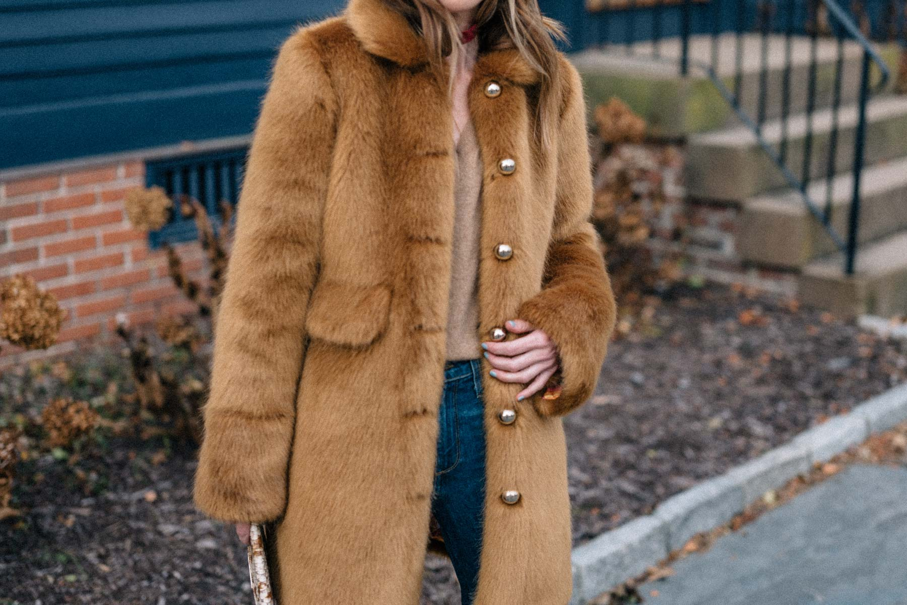 Jess Ann Kirby designed the perfect winter jacket with camel faux fur with Frilly