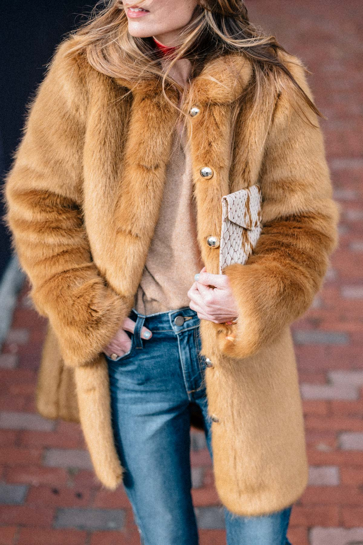 Jess Ann Kirby designs the perfect faux fur coat with Frilly and styles it with Hoxton Jeans and a cashmere sweater