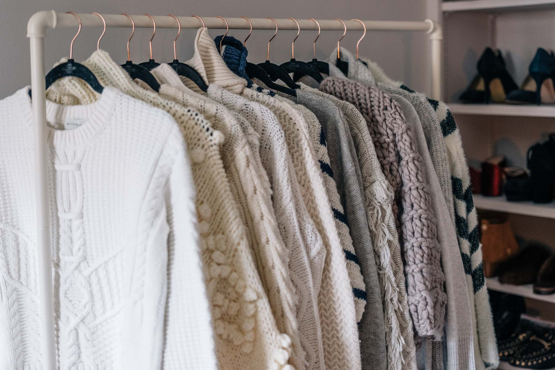 Jess Ann Kirby shares the neutral sweaters in her collection and how to care for them