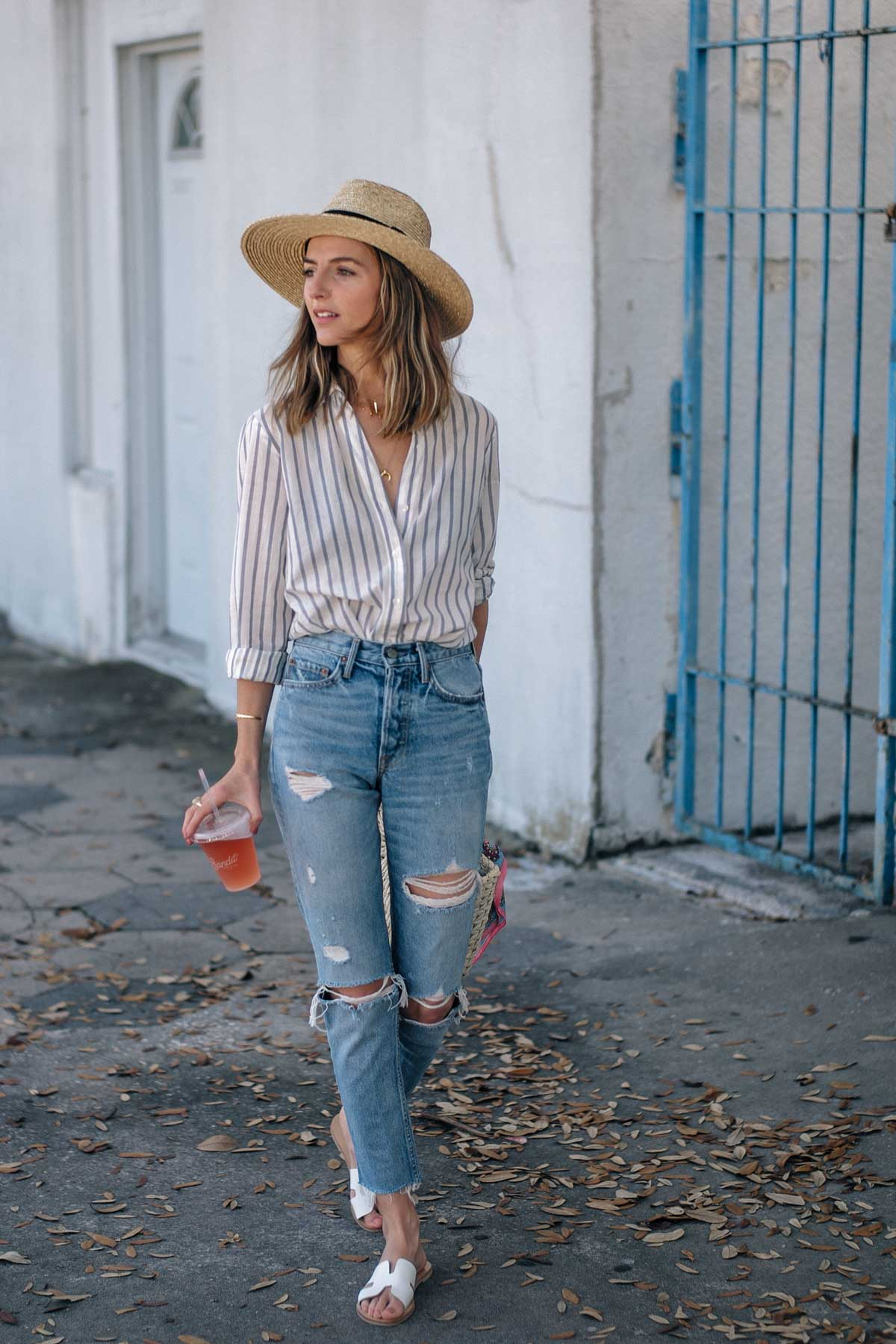 Jess Ann Kirby packed GRLFND jeans and a striped button down for her trip to Saint Petersburg