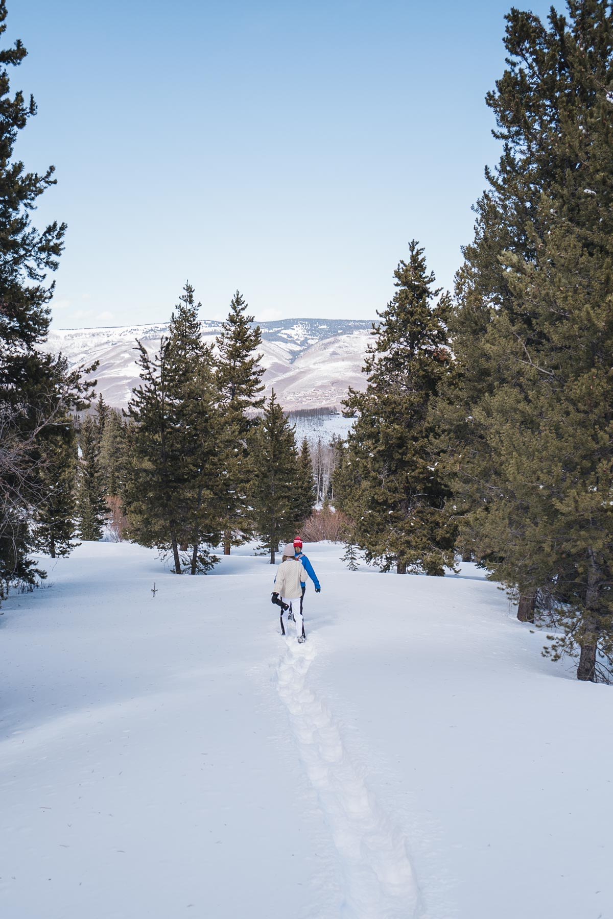 Jess Ann Kirby spends an afternoon snowshoeing in McCoy Park at Beaver Creek
