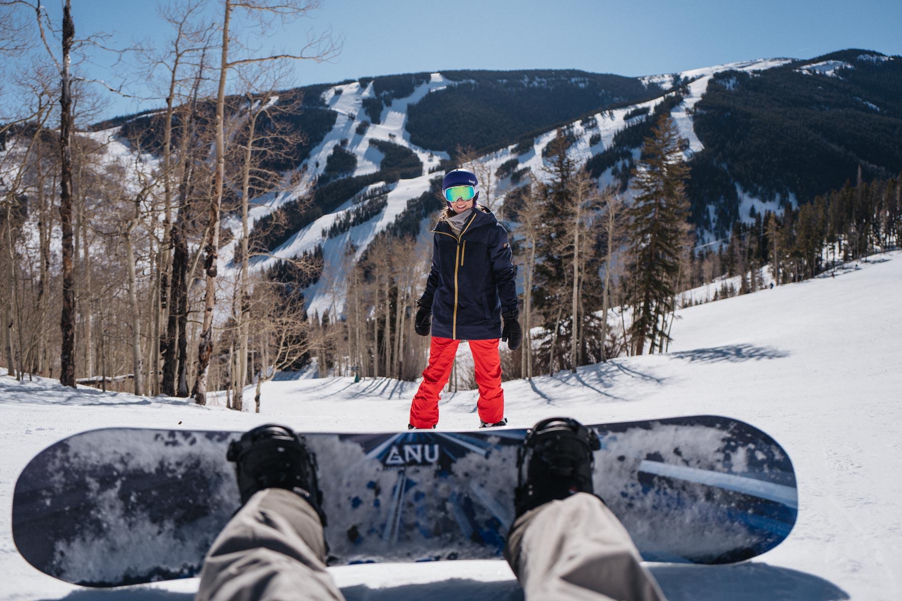 Jess Ann Kirby spends time snowboarding at Beaver Creek Colorado